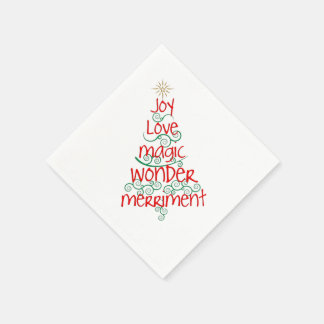Whimsical Red & Green Typography Christmas Tree Paper Napkin
