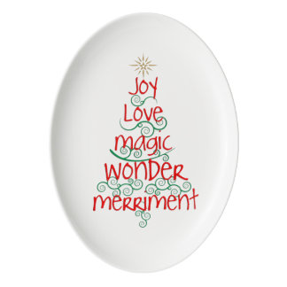 Whimsical Red & Green Typography Christmas Tree Porcelain Serving Platter
