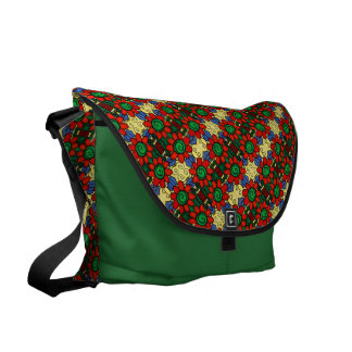 Whimsical Red Green Yellow And Blue Floral Pattern Messenger Bags
