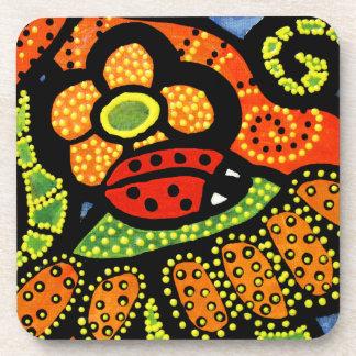 Whimsical Red Ladybug Coaster