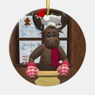 Whimsical Reindeer Chef Ceramic Ornament