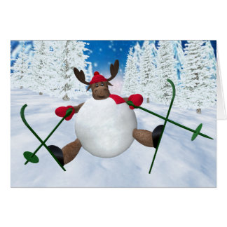 Whimsical Reindeer: Clumsy Skier Card
