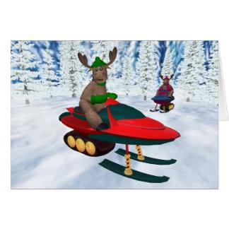Whimsical Reindeer on Snowmobiles Card