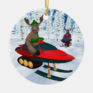 Whimsical Reindeer on Snowmobiles Ceramic Ornament