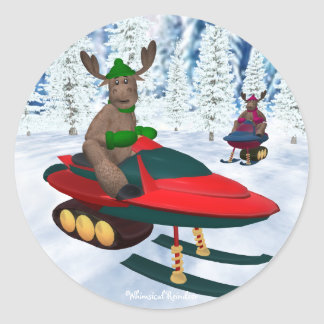Whimsical Reindeer on Snowmobiles Classic Round Sticker