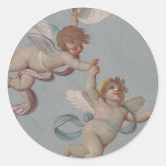Whimsical Renaissance Cherub Angels painting Round Sticker