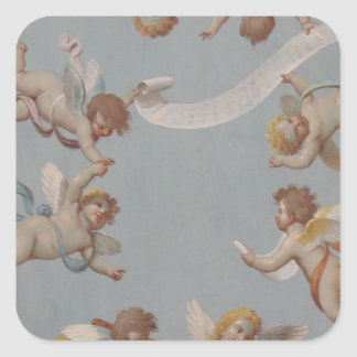 Whimsical Renaissance Cherub Angels painting Square Sticker
