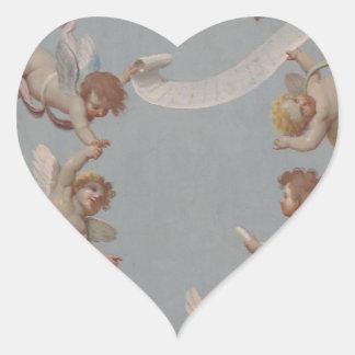 Whimsical Renaissance Cherub Angels painting Heart Sticker