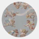 Whimsical Renaissance Cherub Angels Round Stickers