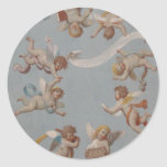 Whimsical Renaissance Cherub Angels Classic Round Sticker