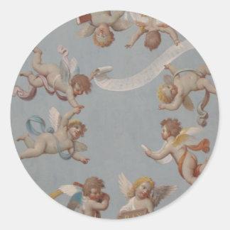 Whimsical Renaissance Cherub Angels Round Sticker