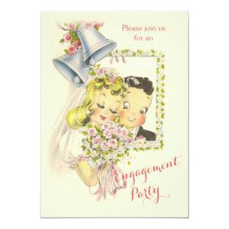 "Whimsical Retro Bride and Groom Engagement Party 5"" X 7"" Invitation Card"