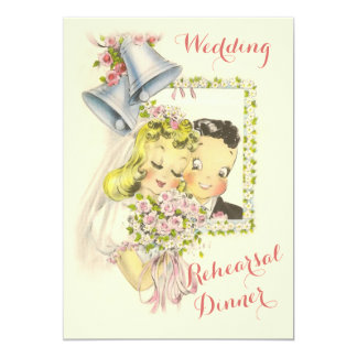 "Whimsical Retro Bride and Groom Rehearsal Dinner 5"" X 7"" Invitation Card"