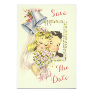 "Whimsical Retro Bride and Groom Save The Date 3.5"" X 5"" Invitation Card"