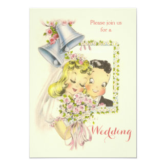 "Whimsical Retro Bride and Groom Wedding 5"" X 7"" Invitation Card"
