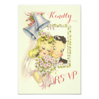 "Whimsical Retro Bride and Groom Wedding RSVP 3.5"" X 5"" Invitation Card"