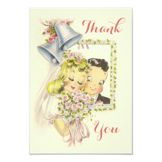 "Whimsical Retro Bride and Groom Wedding Thank You 3.5"" X 5"" Invitation Card"