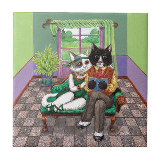 Whimsical Retro Cats from the Roaring 1920s Tile