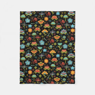 Whimsical Retro Flowers and Birds Fleece Blanket