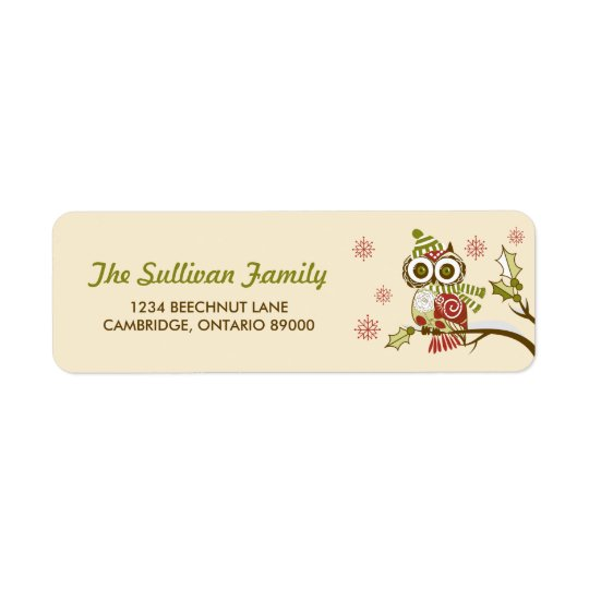 Whimsical Retro Owls and Snowflakes Holiday Label