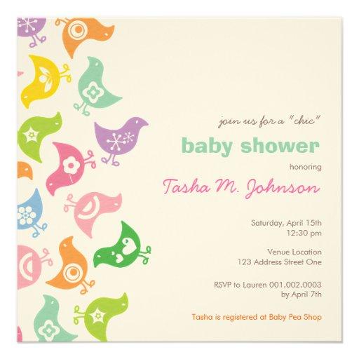 Whimsical Retro Rainbow Chicks Baby Shower Invite Custom Invitations