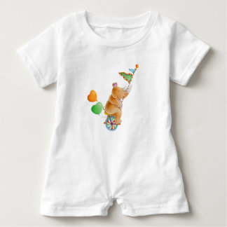Whimsical rhinoceros animal circus watercolor baby romper