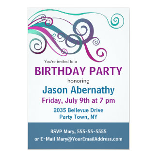 Whimsical Ribbon Curls Party Invite