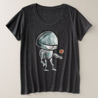 Whimsical Robot Holding A Flower Plus Size T-Shirt