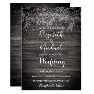 Whimsical rustic floral confetti wedding design card