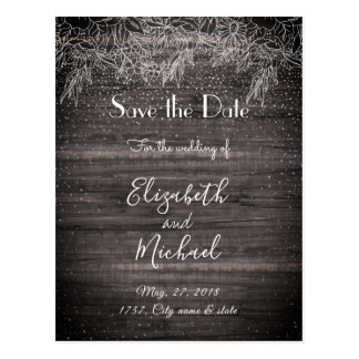 Whimsical rustic floral confetti wedding design postcard