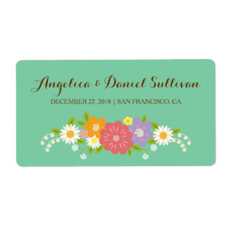 Whimsical Rustic Flowers Wedding (Mint) Wine Label Shipping Label