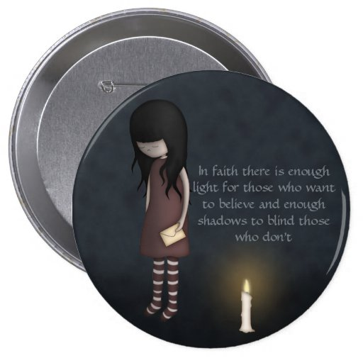 Whimsical Sad, Melancholy Young Girl with a Candle Buttons