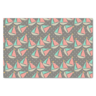 Whimsical Sailboats Tissue Paper