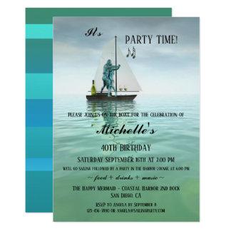 Whimsical Sailors Birthday Party Invitation