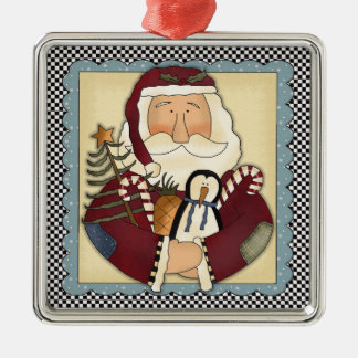 Whimsical Santa Folk Art Christmas Keepsake Silver-Colored Square Ornament