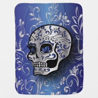 Whimsical sapphire blue and silver skull stroller blanket