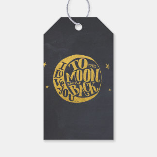 Whimsical Saying With Gold Moon Black Back Pack Of Gift Tags
