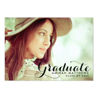 Whimsical Script | Black Photo Graduation Announce Card