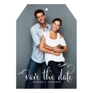 Whimsical Script Photo Save the Date Announcement