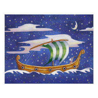 Whimsical Ship Sailing in Space poster