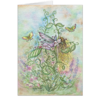 Whimsical Sleeping Flower Fairy and Butterflies Card
