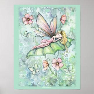 Whimsical Sleepy Flower Fairy Poster Art