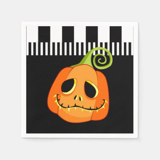 Whimsical Smiley Pumpkin Halloween Party Paper Napkins
