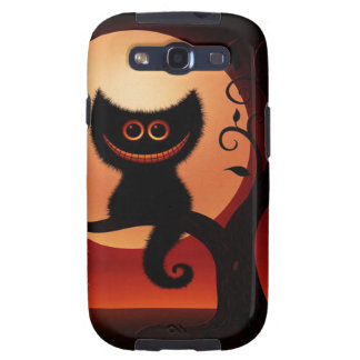 Whimsical Smiling Black Cat Galaxy S3 Cover