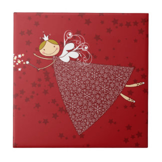 Whimsical Snowflakes Christmas Fairy Holiday Tile