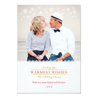"Whimsical Snowflakes Holiday Photo Card 5"" X 7"" Invitation Card"