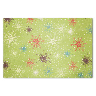 Whimsical Snowflakes on Green Tissue Paper