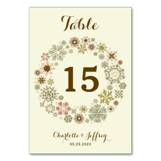 Whimsical Snowflakes Wedding Table Number