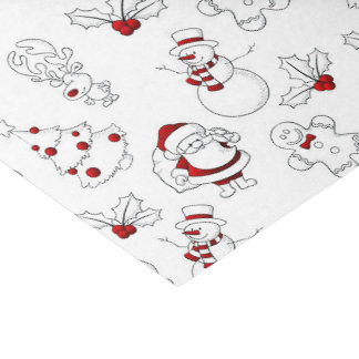 Whimsical Snowman and Santa Claus Tissue Paper
