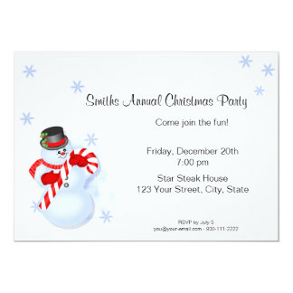 Whimsical Snowman Christmas Party Invitations